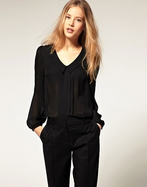 Image 1 of ASOS Blouse With Pintuck And Drop Collar