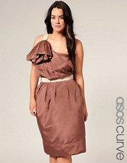 ASOS CURVE SALON Puff Sleeve Strap Dress