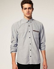 Selected Place Oxford Suede Trim Shirt