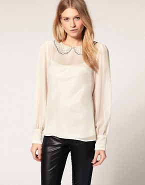 Image 1 of Oasis Beaded Collar Sheer Sleeve Top