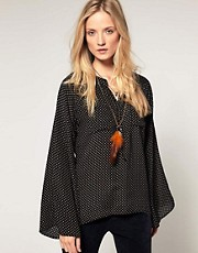 Winter Kate Falling Star Print Silk Blouse wth Fluted Sleeve