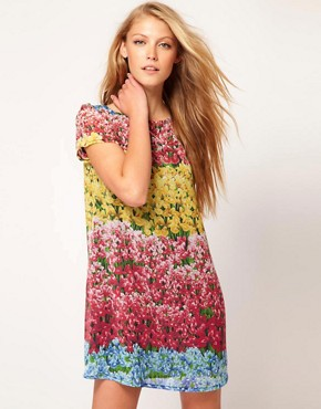 Image 1 of Love Floral Stripe Shift Dress