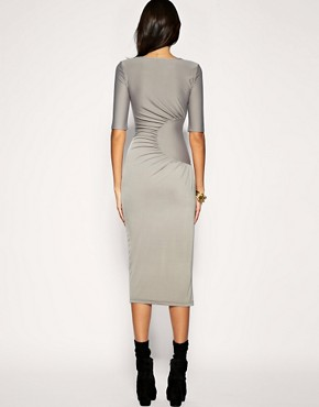 Image 2 ofPaprika Gathered Side Drape Midi Length Dress