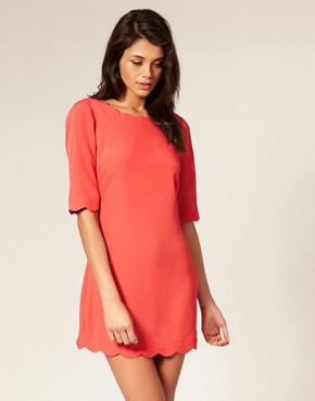 Image 1 of ASOS Scallop Detail Shift Dress