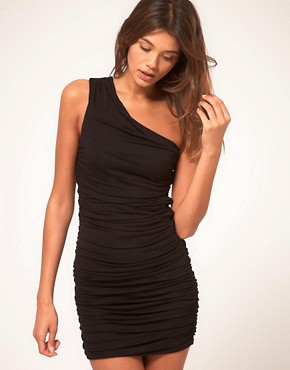 Image 1 of ASOS One Shoulder Dress with Ruched Body