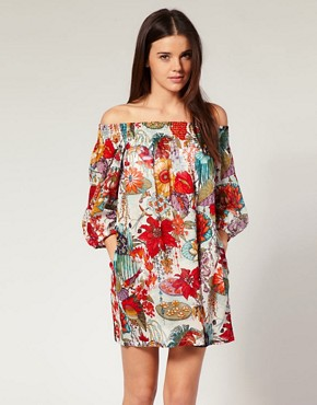 Image 1 ofFrench Connection Garden Print Off The Shoulder Beach Dress