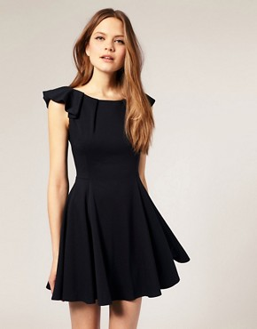 Image 1 of ASOS Flippy Dress with Folded Shoulder