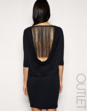 selected femme fringe back dress