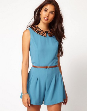 Image 1 of Glamorous Animal Colar Belted Playsuit