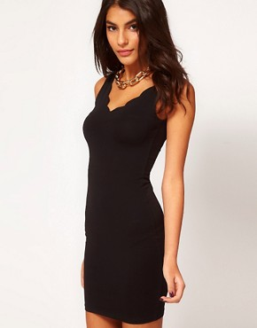 Image 1 of ASOS Bodycon Dress with Scalloped Detail