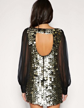 Image 2 of ASOS Chiffon Sleeve Embellished Tunic