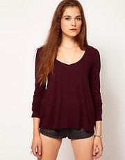 American Vintage Slubby Cotton V Neck Tshirt With Long Sleeves