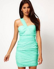 Rare Chiffon and Sequin One Shoulder Pleated Dress