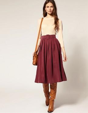 Image 1 ofASOS Soft Handle Cupro Belted Midi Skirt