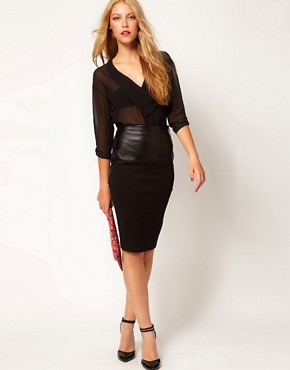 Image 1 of ASOS Pencil Skirt with Leather Look Trim