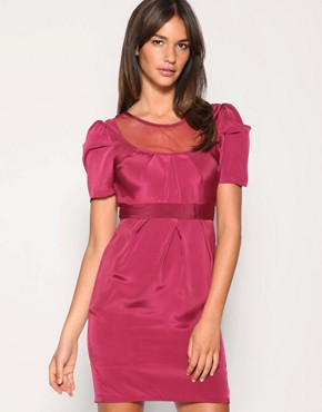 Image 1 of ASOS Mesh Insert Pleat Detail Dress