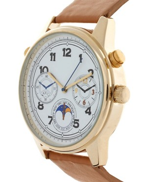 Image 3 ofASOS Vintage Dial Watch on Tan Strap