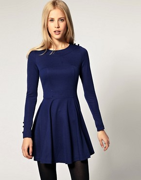 Image 1 of ASOS Skater Dress with Button Detail