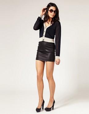 Image 1 ofmuubaa Stretch Leather Skirt