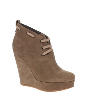 Image 1 of River Island Grade Crepe Wedge Ankle Boots