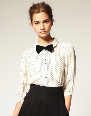 Image 1 of ASOS Star Print Peter Pan Collar Blouse