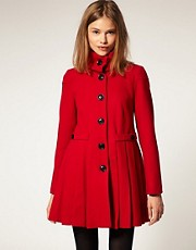 ASOS Pleated Coat With Fold Over Collar