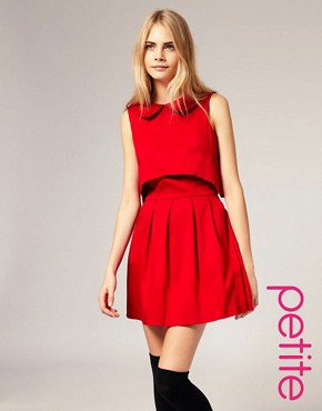 Image 1 of ASOS PETITE Peterpan Collar Open Back Dress