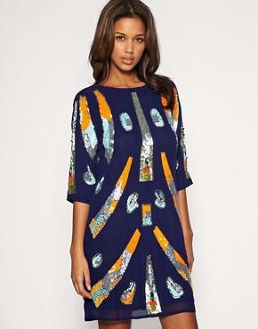 Image 1 ofASOS Mixed Embellished Tunic Dress