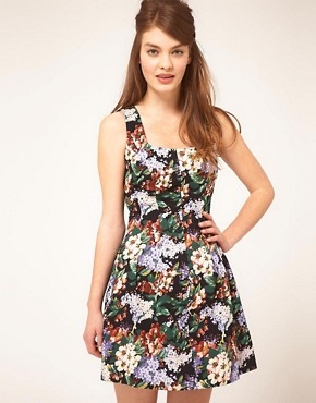 Image 1 of ASOS Tulip Dress In Vintage Print