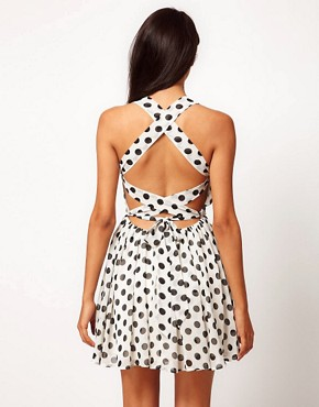 Image 1 of Rare Chiffon Spot Cross Back Skater Dress