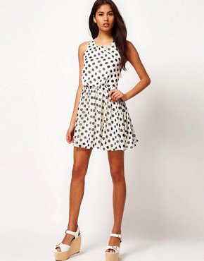 Image 4 of Rare Chiffon Spot Cross Back Skater Dress