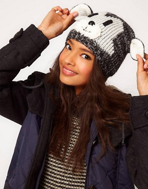 Image 1 of ASOS Mixed Knit Bear Beanie
