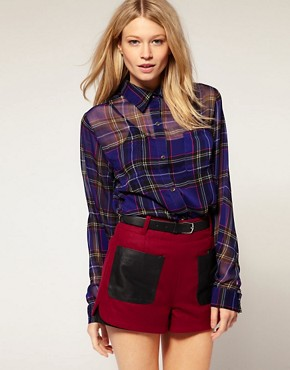 Image 1 of Motel Laurel Tartan Sheer Chiffon Shirt