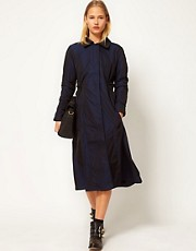 White Tent Taffeta Trench Coat With Cape Back Detail