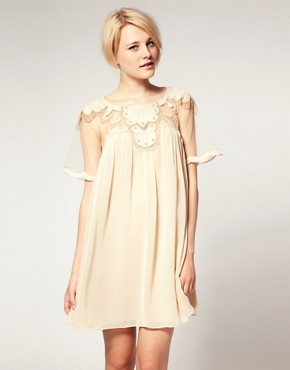 Image 1 of ASOS Swing Dress With Mesh And Trim Detail