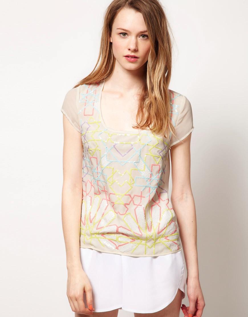 Fluoro Sequin T-Shirt