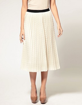 Image 4 ofASOS Pleated Midi Skirt with Contrast Waistband
