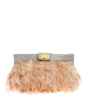 Image 1 ofASOS Nude Feather Clutch