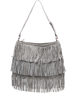 oasis silver fringed bag