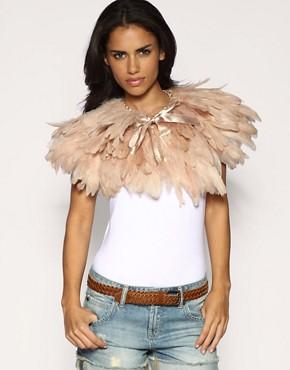 Image 1 ofASOS Premium Nude Feather Cape