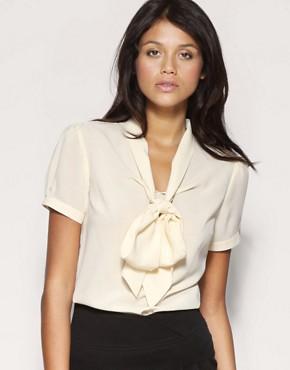 Image 1 ofASOS Pussybow Short Sleeve Blouse