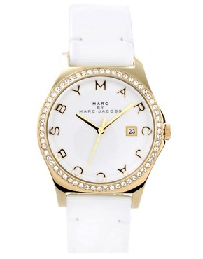 Image 1 ofMarc By Marc Jacobs White Leather Strap Watch