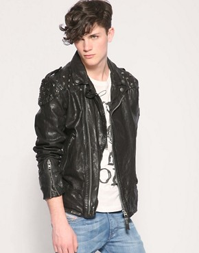 Image 1 of Diesel Lahampos Studded Leather Jacket