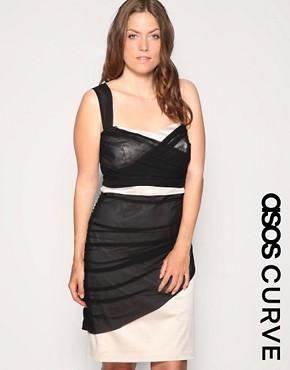 Image 1 ofASOS CURVE Mesh Bodycon Dress