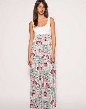 Image 1 ofASOS Floral Printed Skirt Maxi Dress
