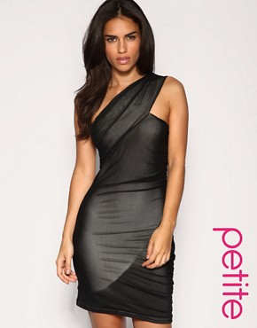 Image 1 of ASOS PETITE Mesh Twisted One Shoulder Dress