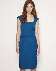 Reiss Cristal Fitted Pleat Waistband Dress