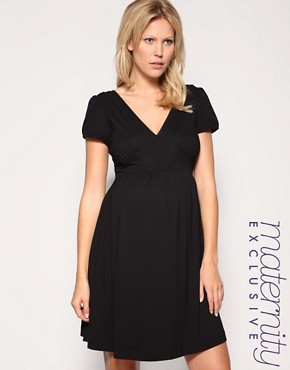 Image 1 of ASOS MATERNITY Exclusive Cap Sleeve Cross Front Dress
