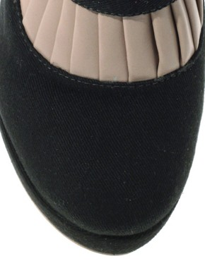 Image 1 ofASOS ALICE Denim Pleat Leather Boots