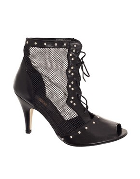 Image 1 of ASOS TALEXA Leather Mesh And Stud Ankle Boot